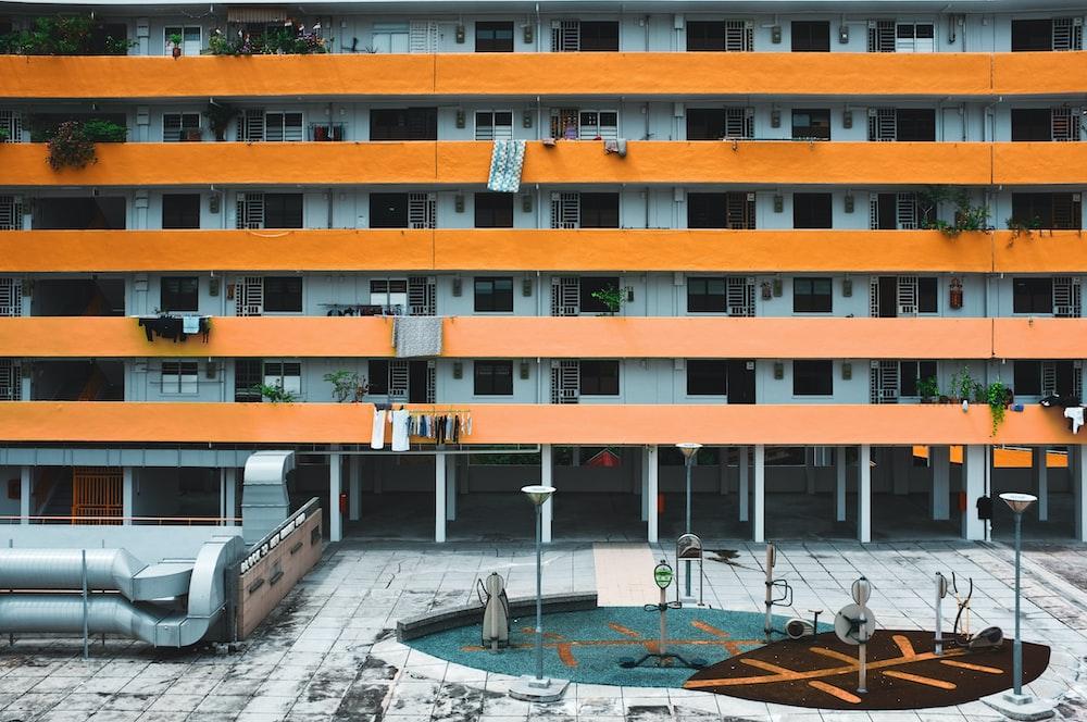 orange and grey concrete building