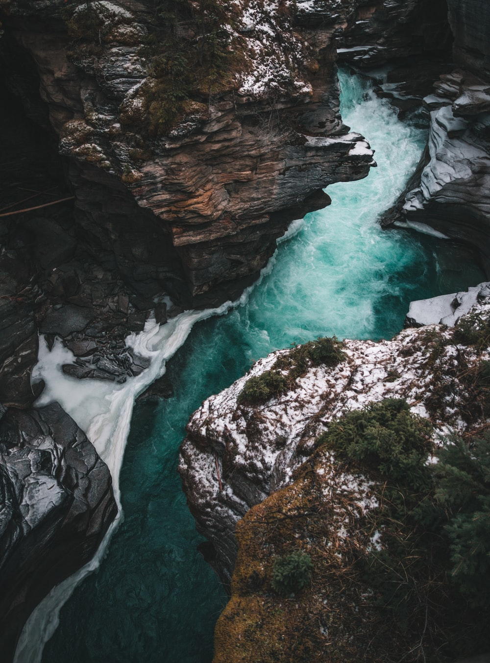 river flows between rock formation