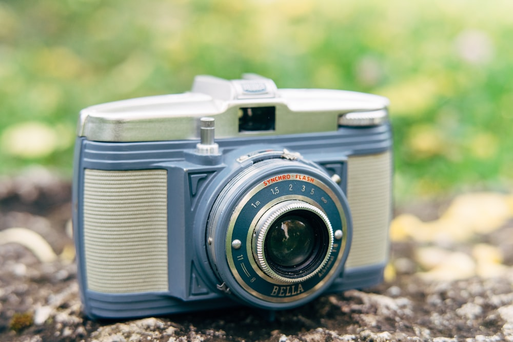 gray and blue camera