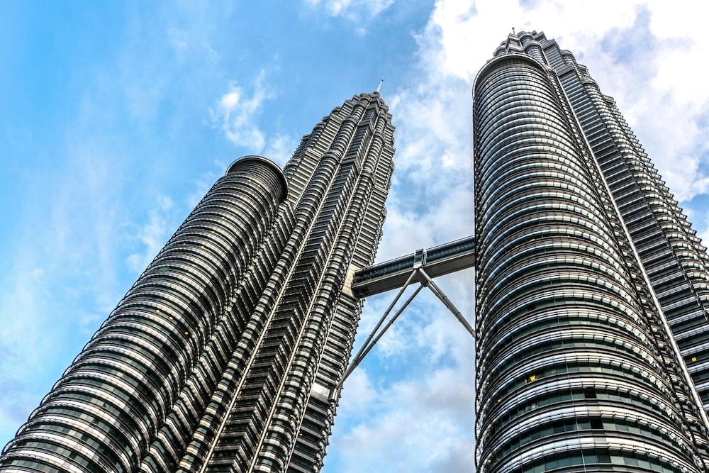 low-angle photography of Petronas twin tower