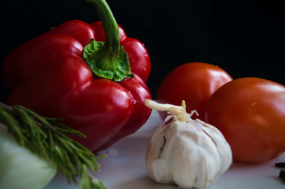vegetables on white surface
