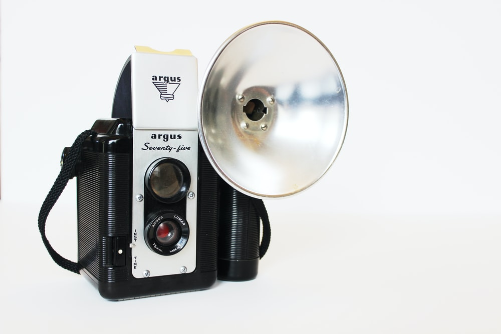 vintage black and white camera