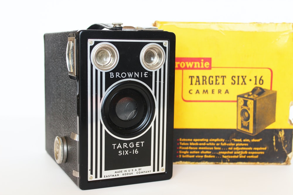 black and white Brownie camera
