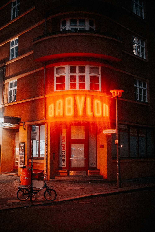 orange Babylon neon sign