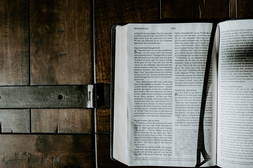 opened Bible with bookmark