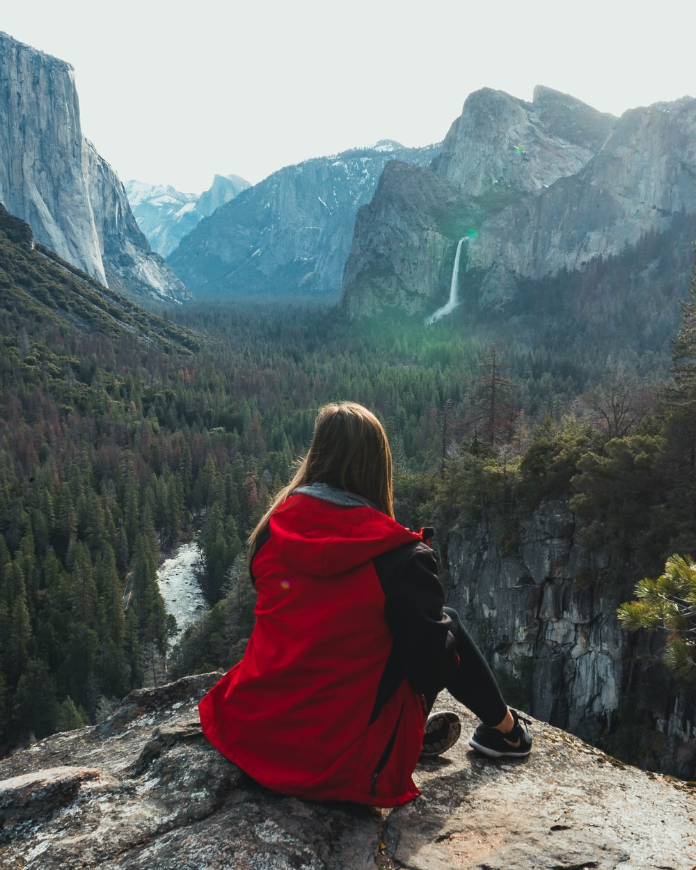 woman wears red hoodie jacket
