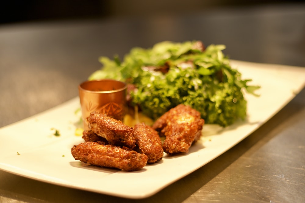fried chicken and with green vegetables