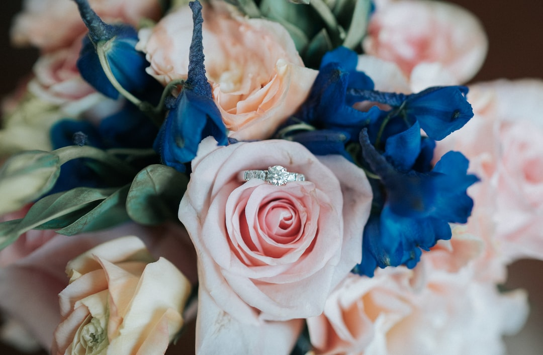Wedding Ring in a Bouquet of Beautiful Flowers