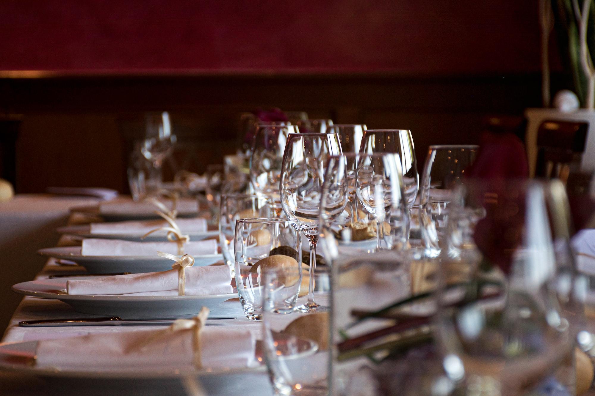 A table set for a wedding dinner.