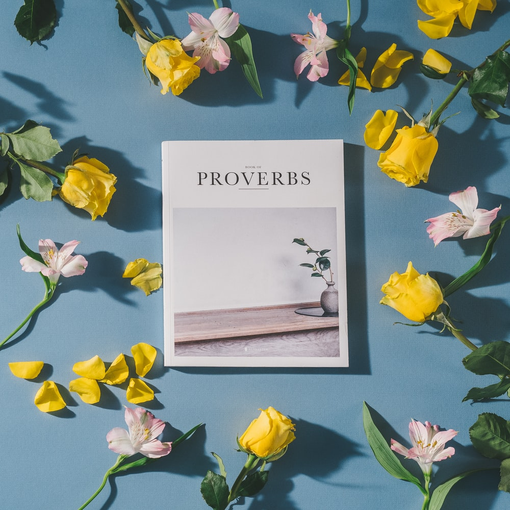 Proverbs book beside white and pink flowers