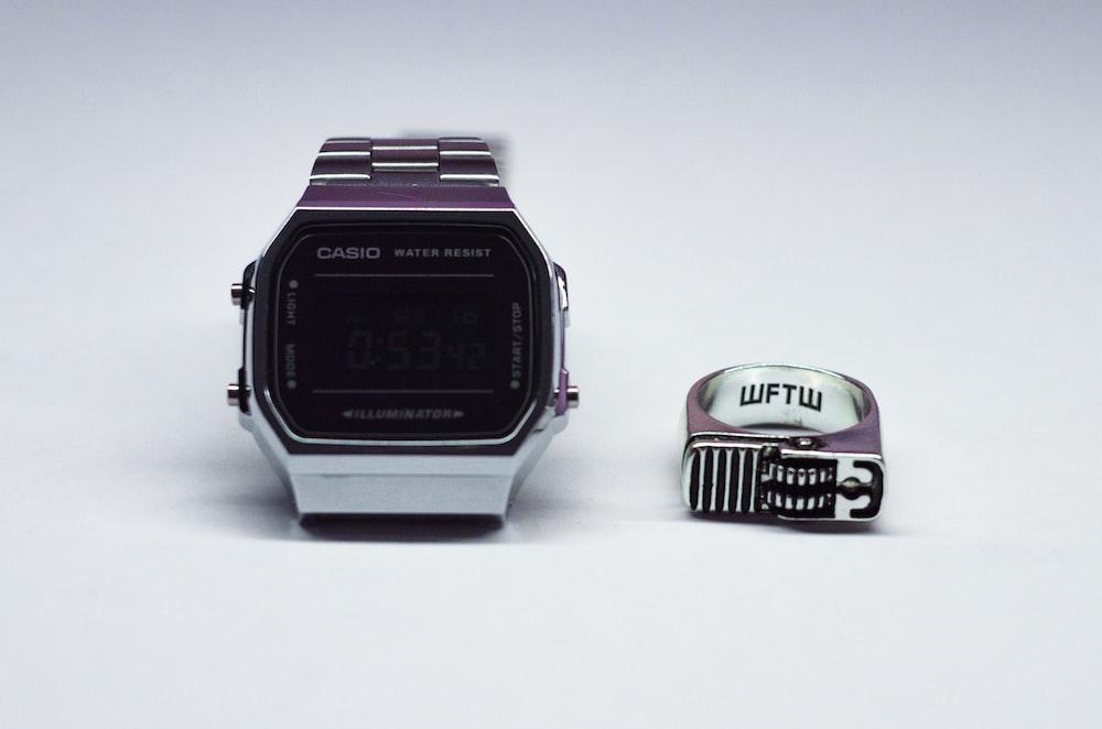 square silver-colored Casio watch