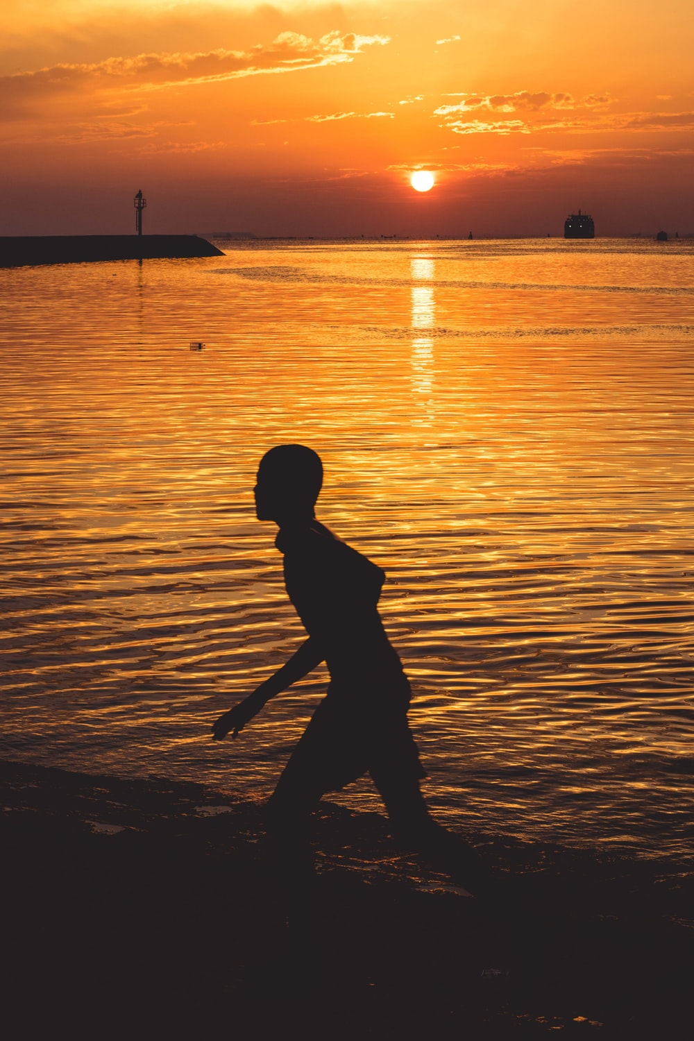 silhouette of person on seashore during sunset