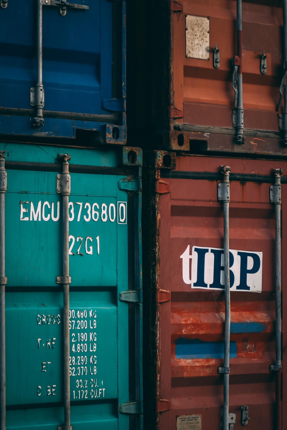 four intermodal containers