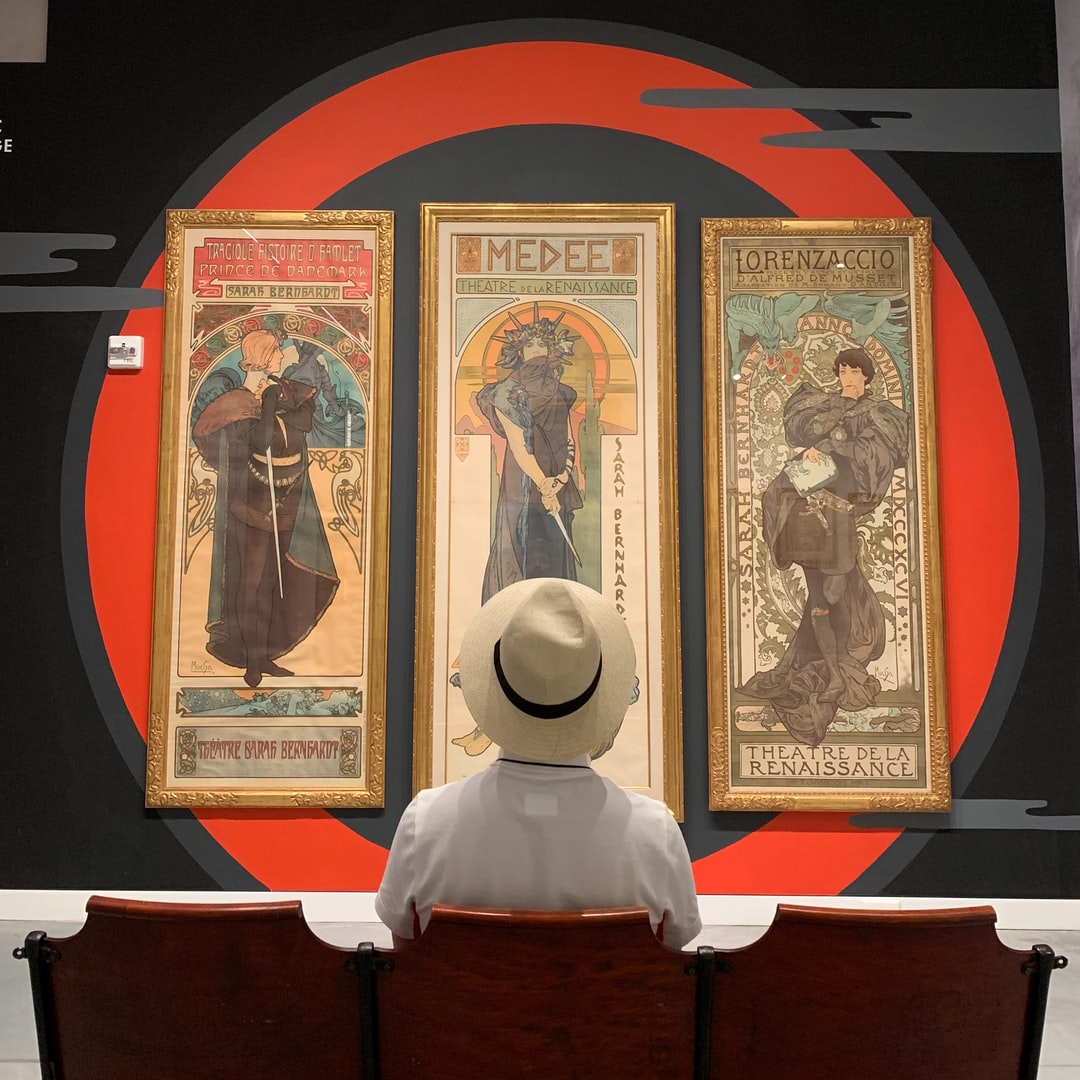 Alphonse Mucha's posters being exhibited at Poster House in New York.