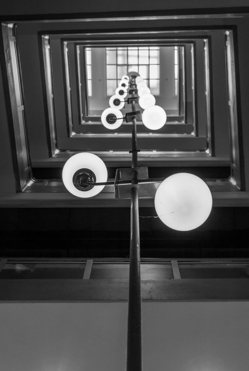 grayscale photography of lights