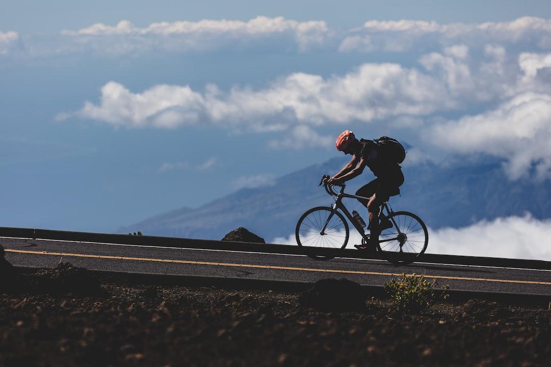 Haleakalā, Hawaii, USA - A biker makes his way to the top of the 10,000 foot volcanic summit.