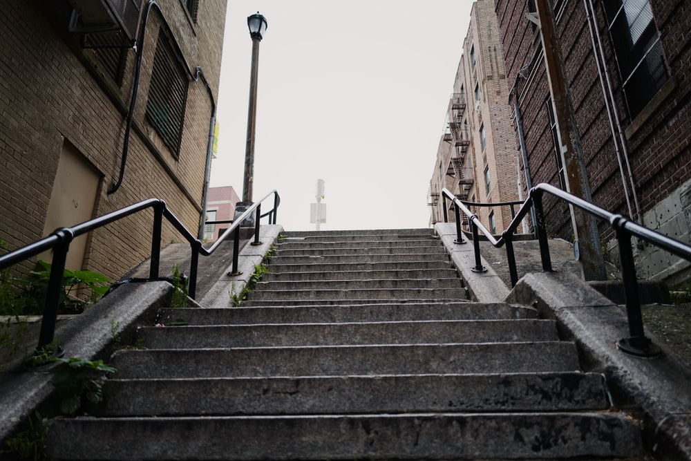 empty concrete stairs at daytime