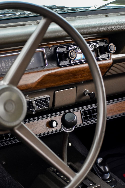 gray car steering wheel