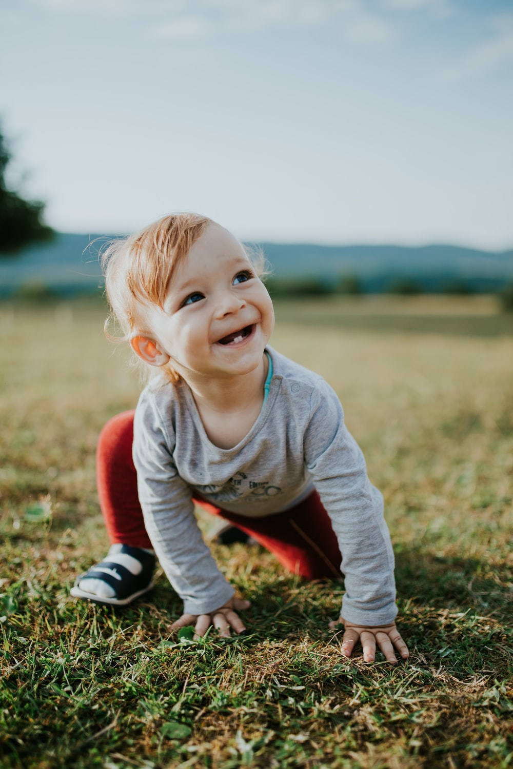 selective focus photo of baby crawling on grass