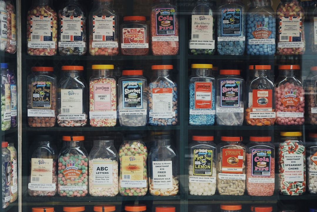 Sweet jars in a traditional sweet shop in Rye, East Sussex