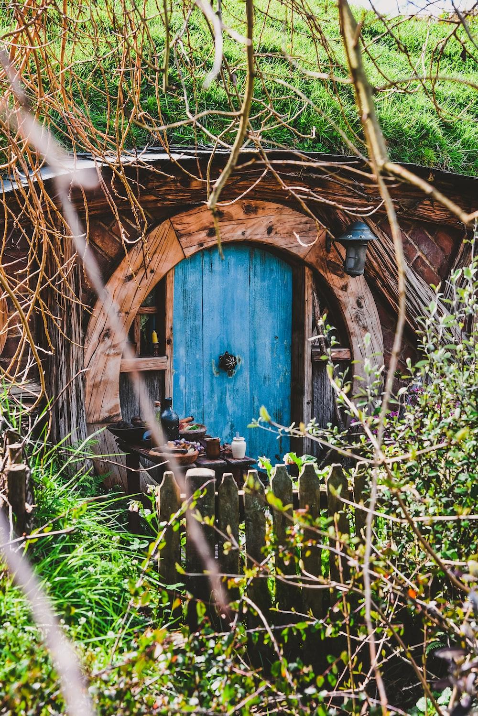 blue door on brown house