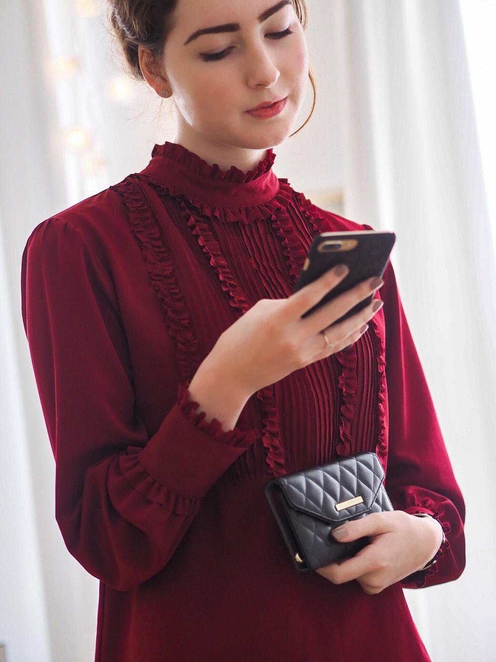 women's red long-sleeved blouse