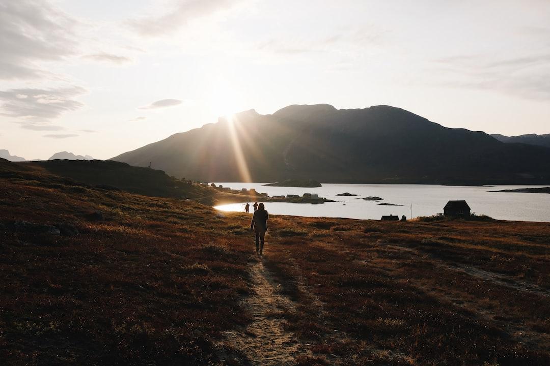 Sunset at the settlement in West Greenland - Kapisillit