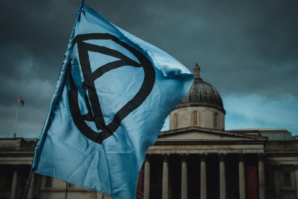 blue and black flag