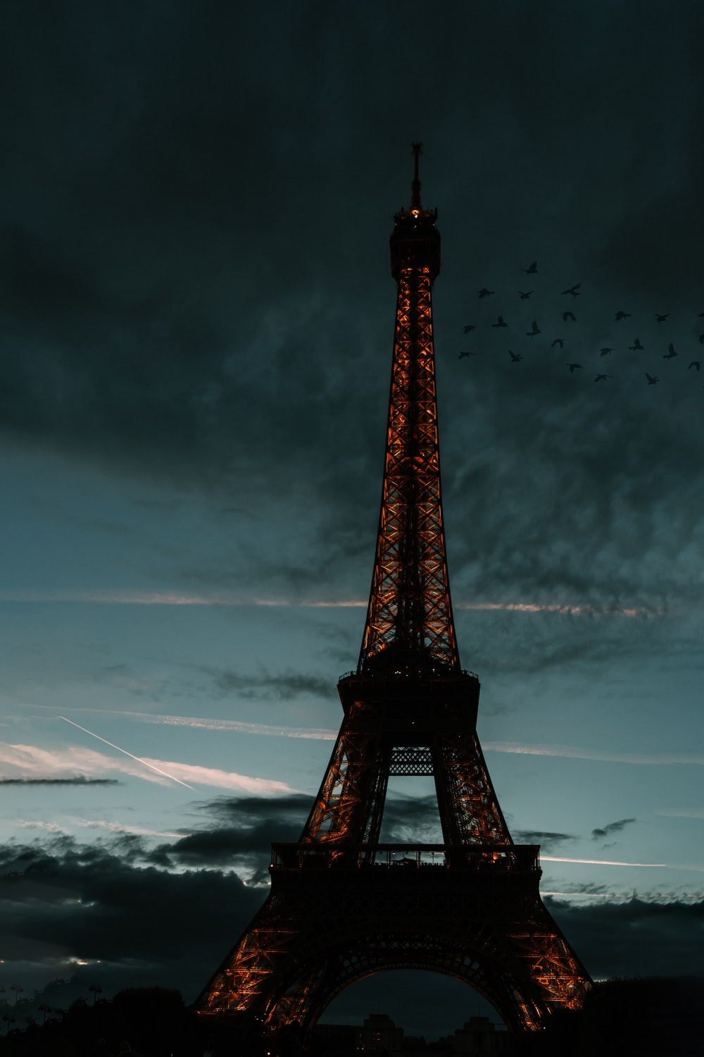 Eiffel Tower in Paris France during night time