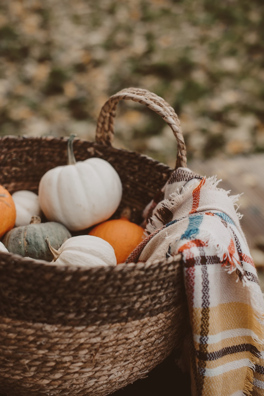 selective focus photography of pumpkins in brown wicker basket
