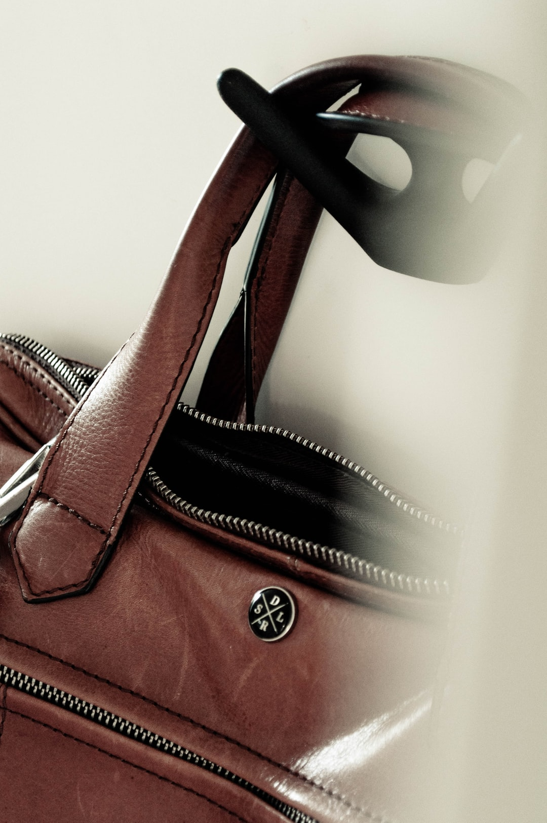 A leather bag.