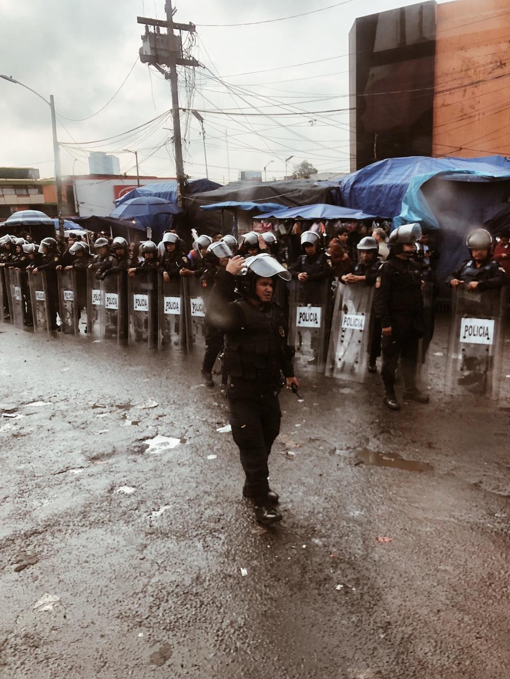officer walking on street