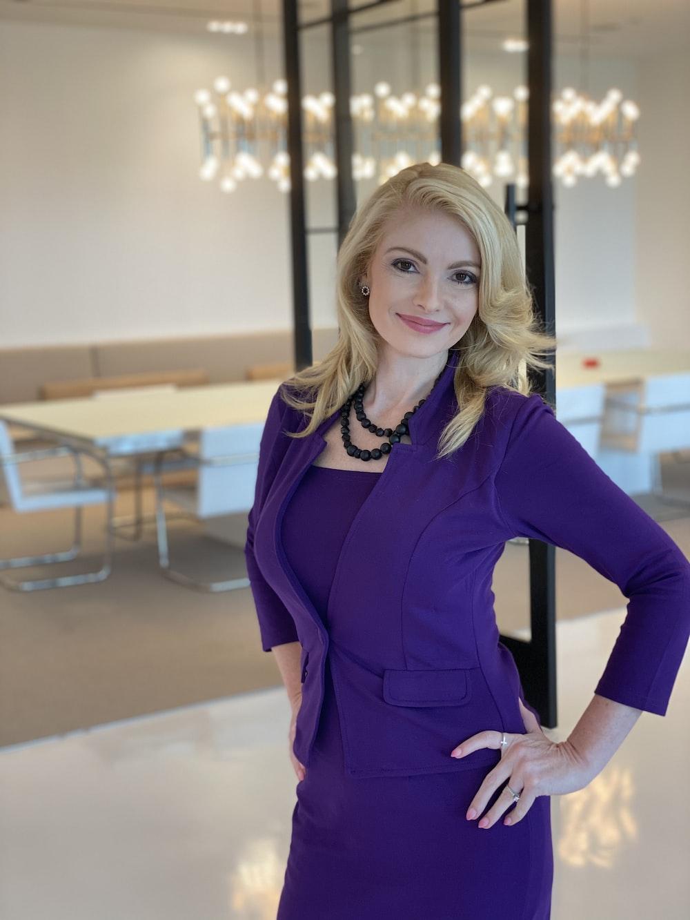 women's purple long-sleeved blazer