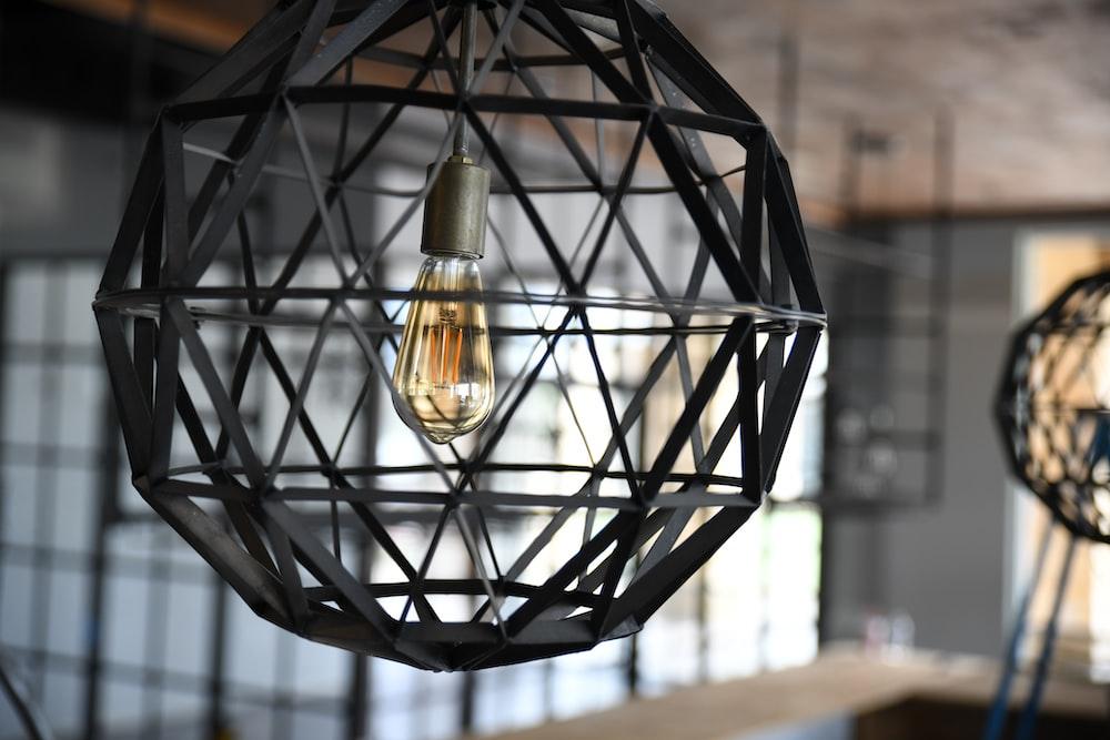 black framed pendant lamps
