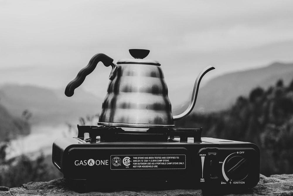grayscale photography of stove oven