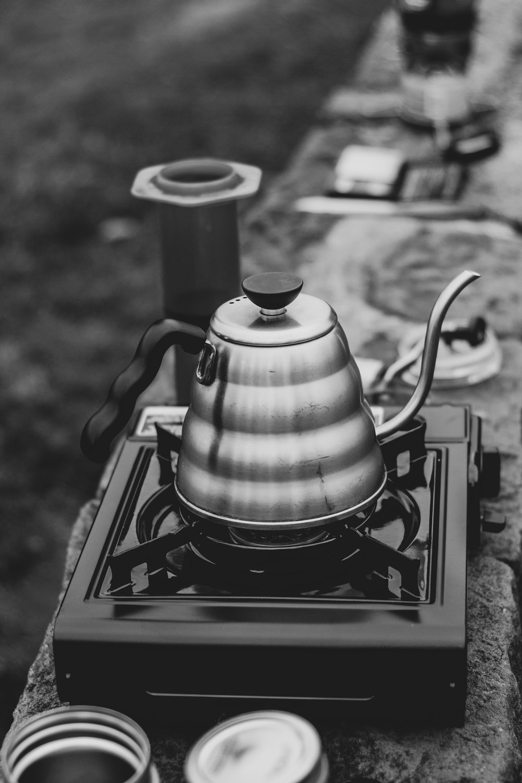 gray stainless steel teapot