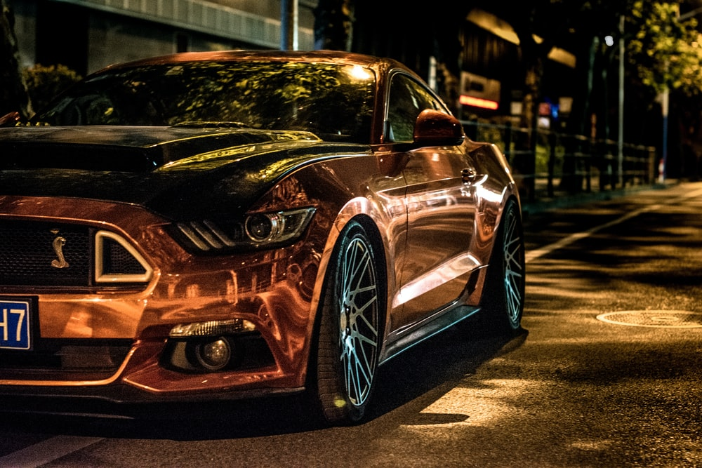 brown Ford Mustang Shelby coupe