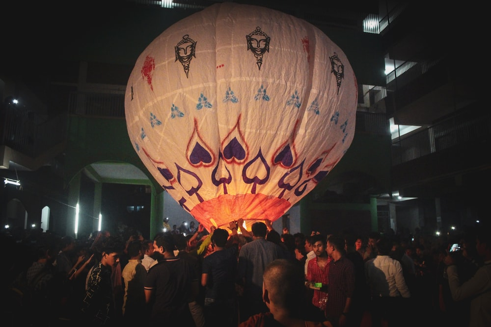 white and multicolored hot air balloon