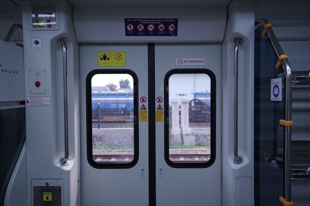white train door closed