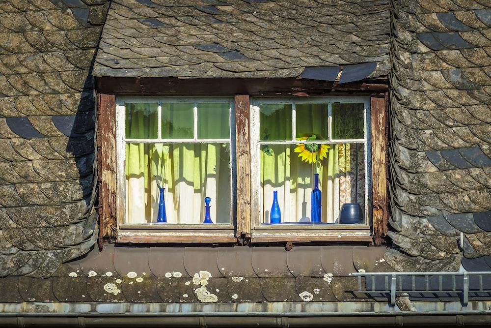 brown wooden window frames