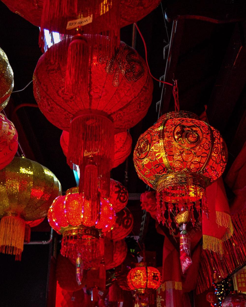 hanging red Chinese lanterns during night