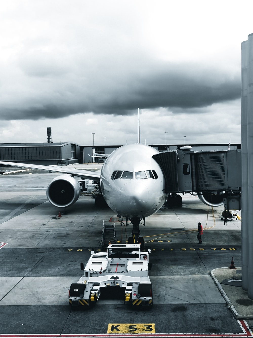 grayscale photography of passenger plane