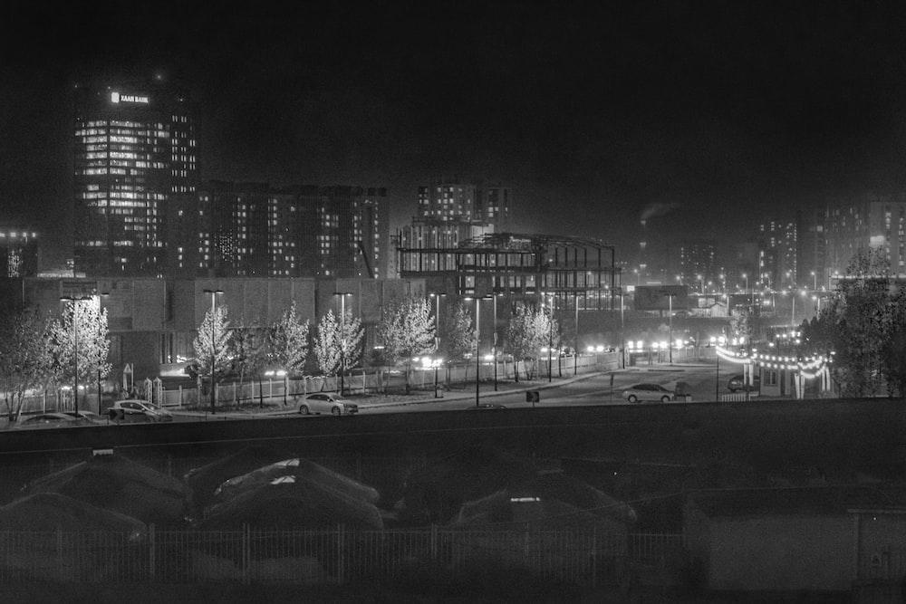 gray-scale photo of city
