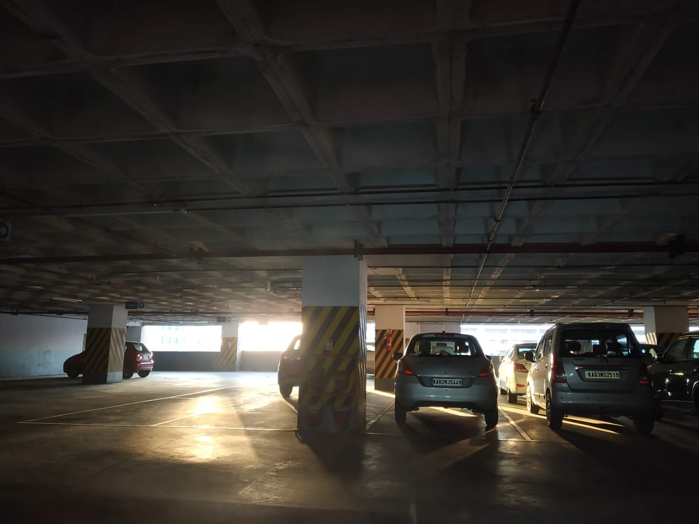 vehicles on parking lot
