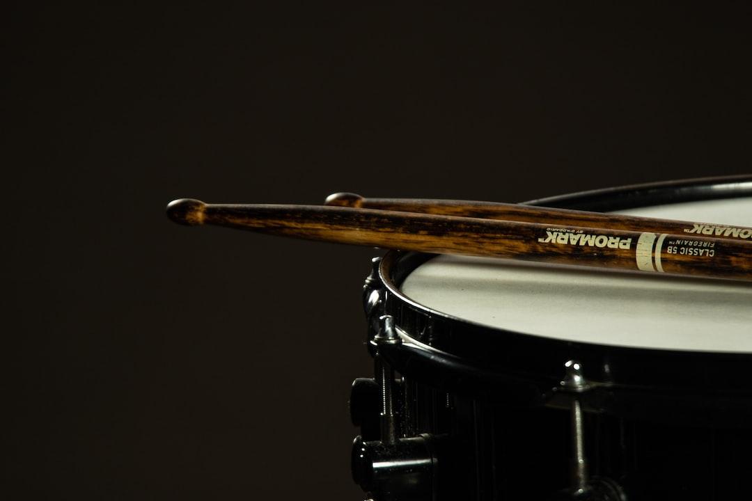 Drumsticks on a snare drum.