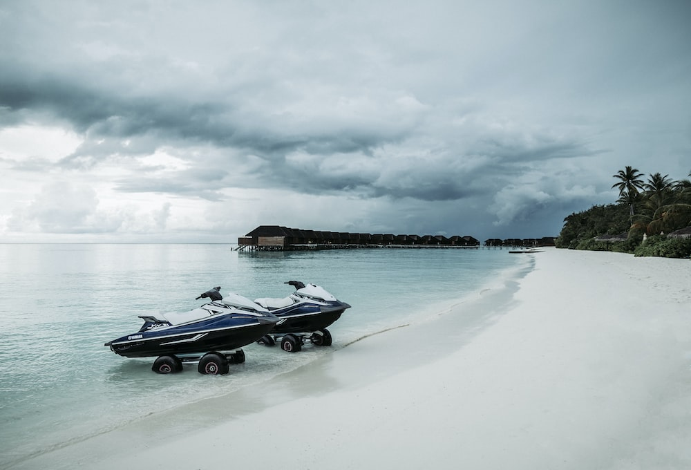 blue-and-white personal watercraft on shore