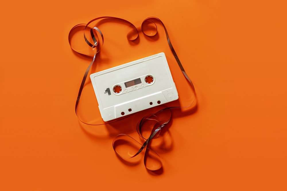 white cassette tape close-up photography