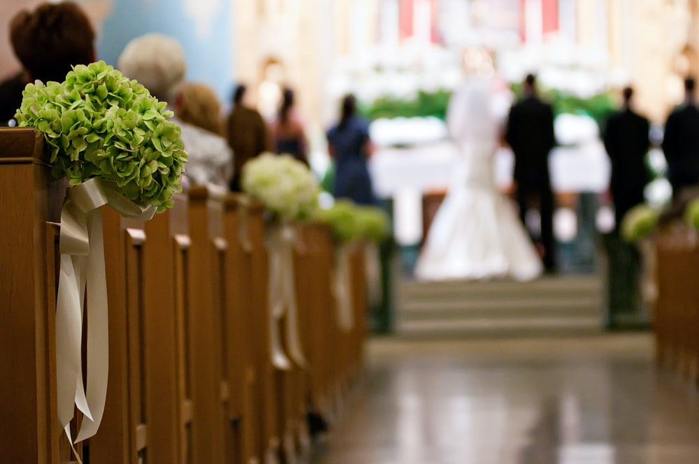 women's white wedding gown