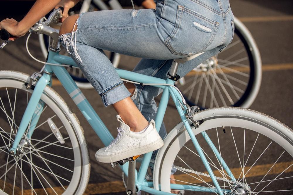 blue and white road bike