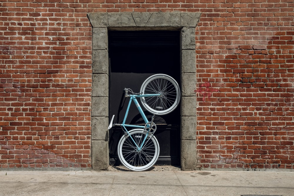 blue and black bicycle